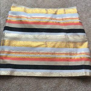 Jcrew Metallic Candy Stripe Mini Skirt